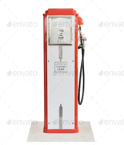 Vintage fuel pump on white background