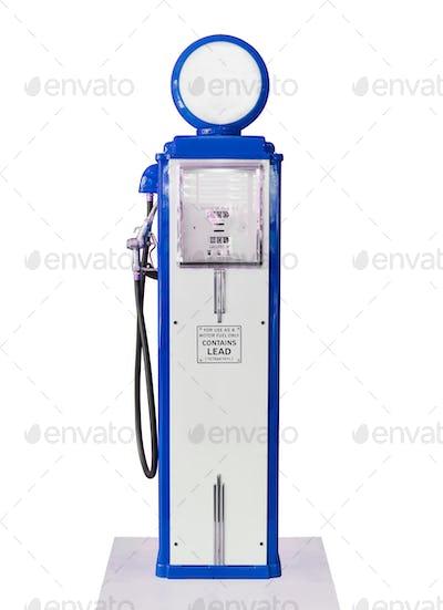 Vintage blue fuel pump on white background