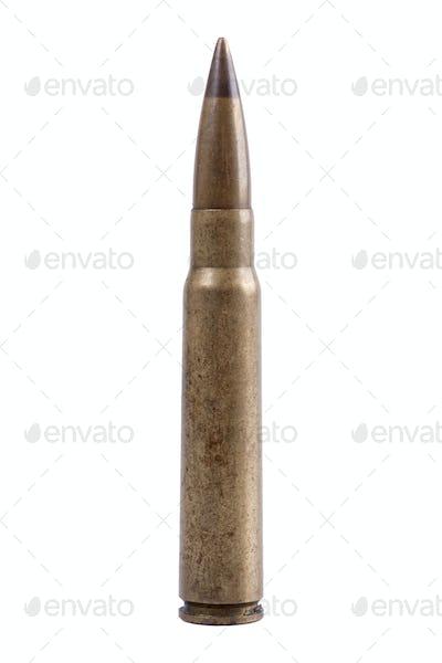 Machine gun bullet on a white background