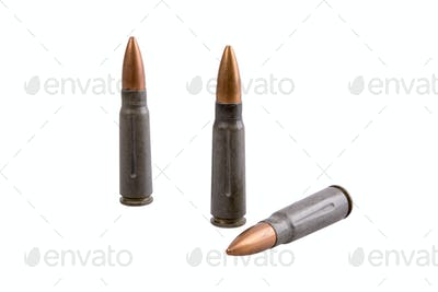 Machine gun bullets on a white background