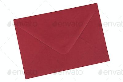 Dark red envelope on a white background