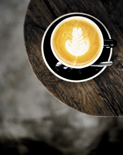 Latte Design Wood Closeup Concept