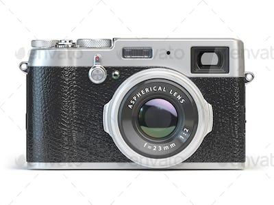 Vintage photo camera isolated on white.