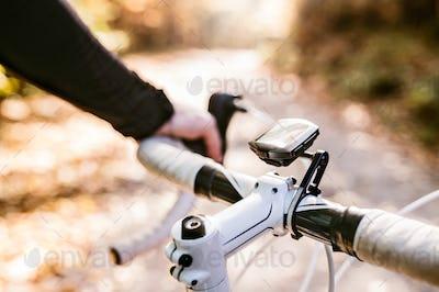 Unrecognizable sportsman riding his bicycle in sunny autumn natu
