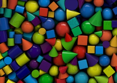 3d illustration background with colored geometric shapes