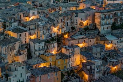 Detail of Ragusa Ibla at night