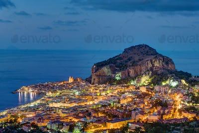 Cefalu in Sicily at night