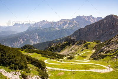 Hiking path in the alps