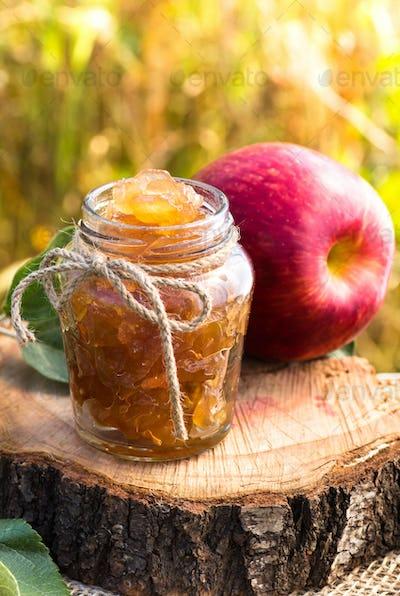 Jar of apple preserves