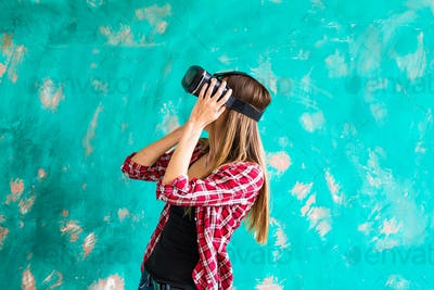 woman with virtual reality headset or 3d glasses