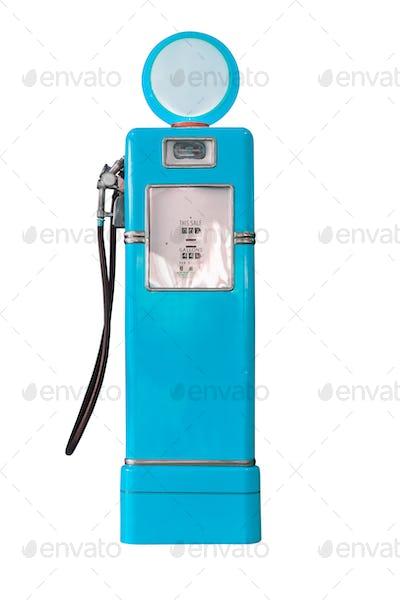 Vintage blue fuel pump on white