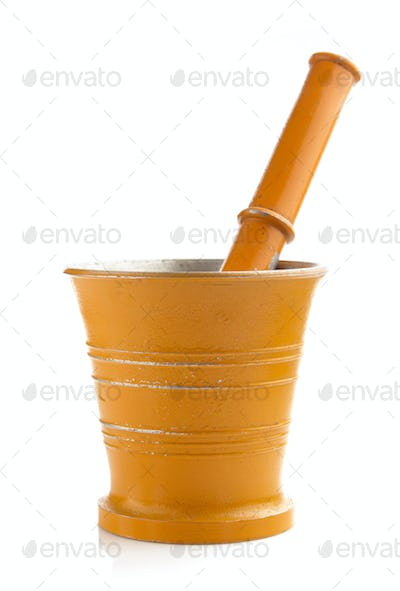mortar and pestle isolated on white