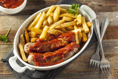 Homemade Currywurst and French Fries
