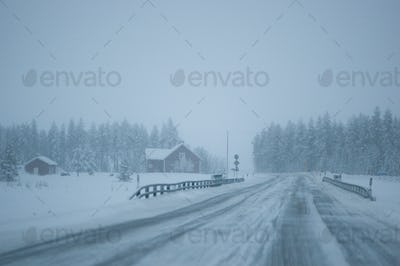 road in snow storm