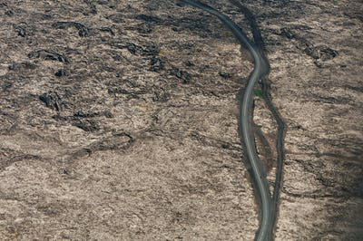 road in deserted country from above