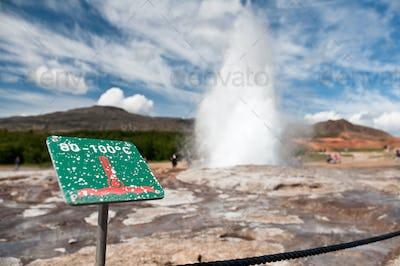 caution hot! erupting Geysir on Iceland