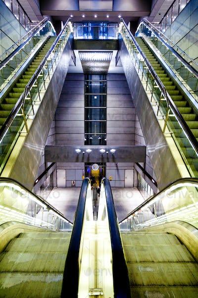 futuristic interior of metro station
