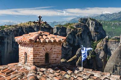rooftops of meteora monasteries, Greece