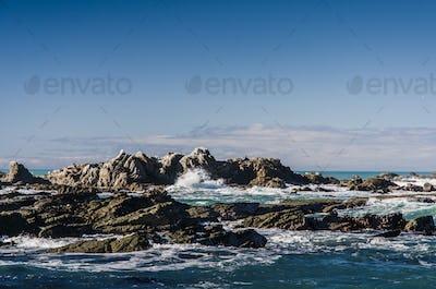 dangerous sharp sea rocks