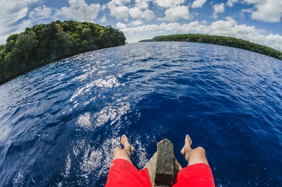 Sitting on a boat in tropocal islands