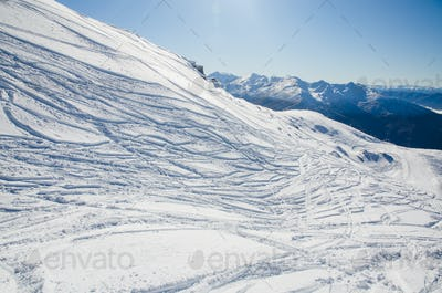 ski tracks in the mountains