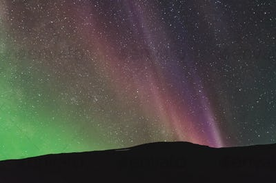 colorful northern lights over the horizon