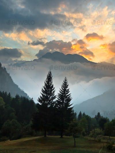 Sunrise over French Alpes