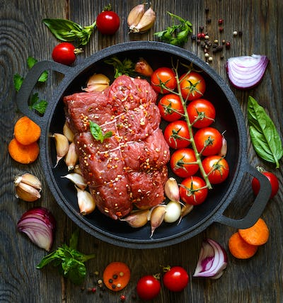 Meat and vegetables.