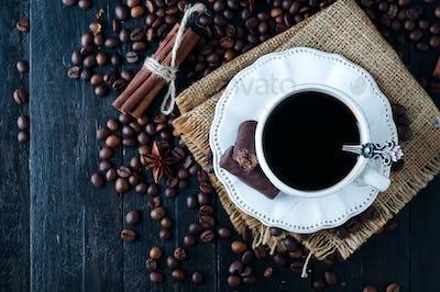 cup of italian espresso with cinnamon
