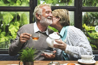 Afternoon Tea Leisure Casual Elderly Older Concept