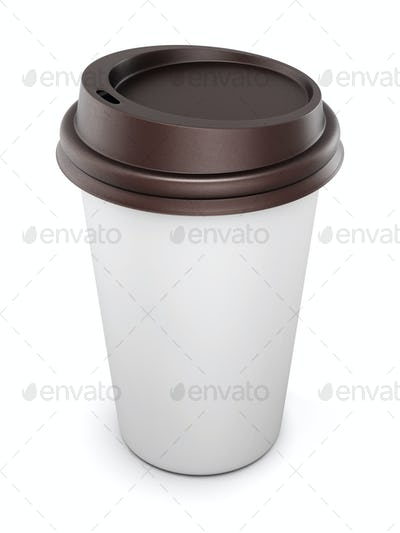 Mock up for your design disposable cups for coffee with lid on w