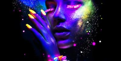 Fashion woman in neon light, portrait of beauty model with fluor