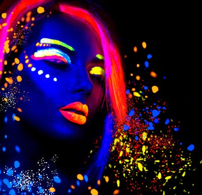 Fashion model woman in neon light, portrait of beautiful model g