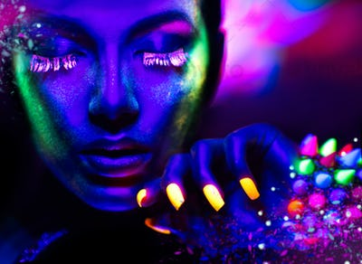 Fashion woman in neon light, portrait of beauty model with fluor