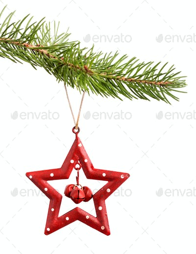 Christmas red star isolated on white