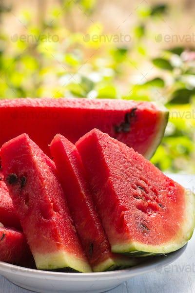 Ripe sliced watermelon closeup