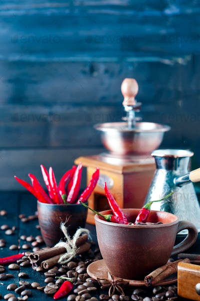 Coffee beans and red chilly peppers