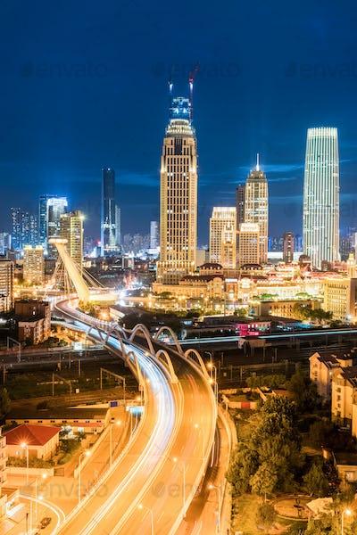 modern city at night in tianjin