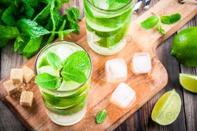 fresh mojito cocktails with lime, mint and ice in glass