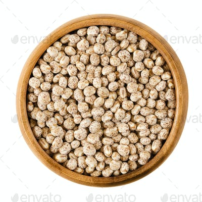 Sweet lupin beans in a bowl over white