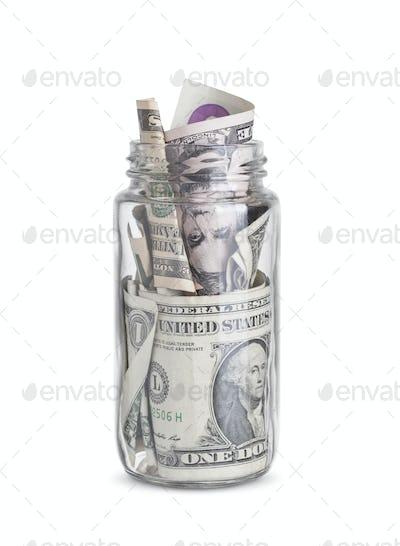 dollar bills in a jar