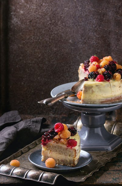 Lemon Cake with colorful raspberries