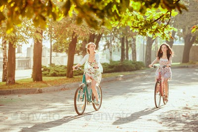 The two young girls with bicycles in park