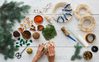 Creative diy hobby. Handmade craft christmas decoration, balls and garland