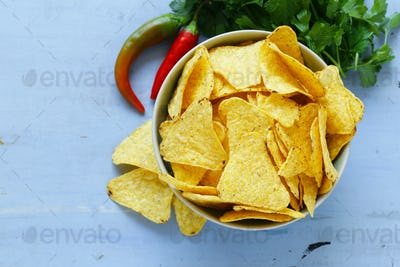 Corn Chips, Nachos In A Bowl