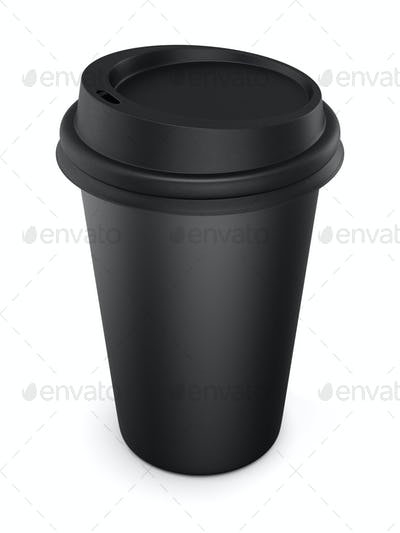 Disposable black plastic Cup with a lid. Cup for coffee. Isolate