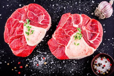 two raw fresh veal shank meat for ossobuco