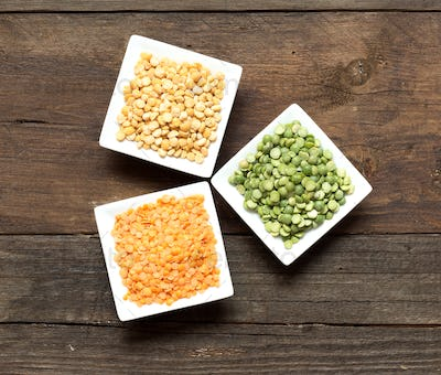 Legumes in bowls