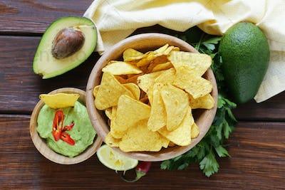 Dip Of Avocado Guacamole And Corn Chips