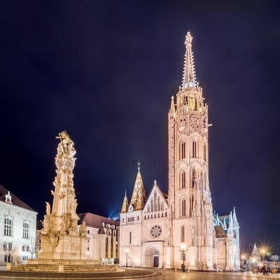 Matthias Church and Statue of Holy Trinity in Budapest, Hungary.
